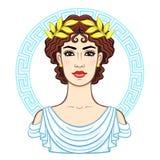 Portrait d'animation de la jeune belle femme grecque dans des vêtements antiques dans une guirlande de laurier illustration libre de droits