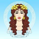 Portrait d'animation de la jeune belle femme grecque dans des vêtements antiques dans une guirlande de laurier Cercle décoratif illustration libre de droits