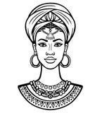 Portrait d'animation de la jeune femme africaine dans un turban Photo stock