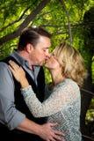Portrait d'anniversaire des baisers de ménages mariés Photographie stock libre de droits