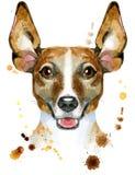 Portrait d'aquarelle de terrier de Russell de cric Images libres de droits