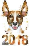 Portrait d'aquarelle de terrier de Russell de cric Photo stock
