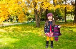 Portrait d'automne de beau kazakh, enfant asiatique Petite fille heureuse avec des feuilles en parc dans la chute Images libres de droits