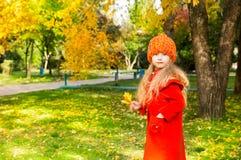 Portrait d'automne de bel enfant Petite fille heureuse avec des feuilles en parc dans la chute Image stock