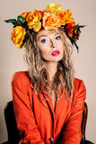 Portrait d'automne de belle femme Photographie stock