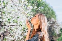Portrait d'embrasser une jeune fille de fleur dans le jardin de cerise Photos stock