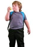 Portrait d'enfant mangeant une pomme photo libre de droits