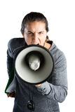 Portrait d'entraîneur féminin annonçant sur le mégaphone Photos stock