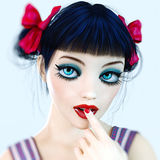 Portrait 3D girl doll big blue eyes and bright makeup. Stock Images