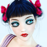 Portrait 3D girl doll big blue eyes and bright makeup. Stock Photos