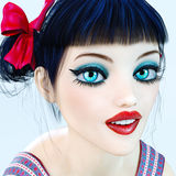 Portrait 3D girl doll big blue eyes and bright makeup. Stock Image