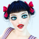 Portrait 3D girl doll big blue eyes and bright makeup. Royalty Free Stock Images