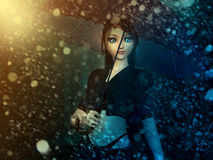 Girl in snowstorm Royalty Free Stock Photo