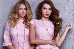 Portrait d'habillement de style d'affaires d'usage de femme deux pour le bureau Photos libres de droits