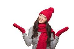 Portrait d'hiver de belle femelle Photographie stock