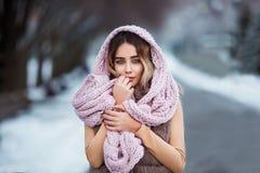 Portrait d'hiver : Jeune jolie femme habillée dans vêtements de laine chauds, écharpe et tête couverte posant l'extérieur images libres de droits