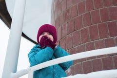 Portrait d'hiver d'un garçon mignon dans le chapeau de Bourgogne l'enfant embarrassé a couvert son visage de ses mains photographie stock libre de droits
