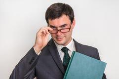 Portrait d'homme d'affaires réussi dans le costume d'isolement sur le blanc Photographie stock