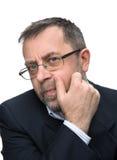 Portrait d'homme d'affaires supérieur dans une veste noire Images stock