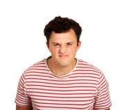 Portrait d'homme malheureux et déprimé avec les cheveux noirs, se sentant honteux ou malade type émotif d'isolement sur le fond b image libre de droits