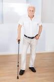 Portrait d'homme supérieur avec le bâton de marche Photos libres de droits