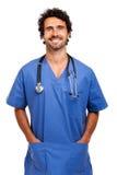 Portrait d'infirmière d'isolement sur le blanc Images libres de droits