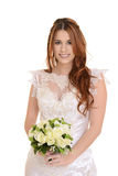 Portrait d'isolement de jeune mariée avec le bouquet de fleur Photo libre de droits