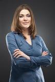 Portrait d'isolement par femme d'affaires Photographie stock