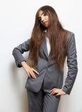Portrait d'isolement par style de mode de femme d'affaires St femelle de modèle Photo libre de droits