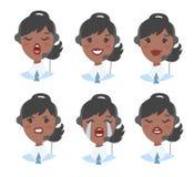 Portrait d'opérateur féminin de sourire heureux de téléphone de support à la clientèle Travailleur de Callcenter avec le casque I illustration stock