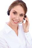Portrait d'opérateur gai de sourire de téléphone de soutien de jeunes dans le casque, d'isolement au-dessus du fond blanc Image libre de droits