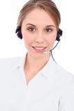 Portrait d'opérateur gai de sourire de téléphone de soutien de jeunes dans le casque, d'isolement au-dessus du fond blanc images stock