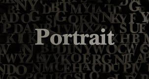 Portrait - 3D a rendu l'illustration composée métallique de titre Photo stock