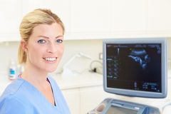 Portrait Of 4D Ultrasound Scanning Machine Operator Royalty Free Stock Photos