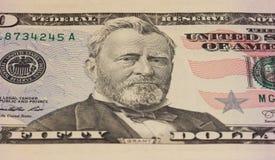 Portrait d'Ulysses Grant sur la note des 50 dollars images libres de droits