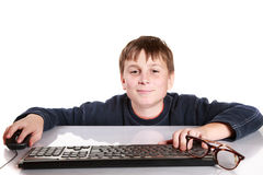 Portrait d'un adolescent avec un clavier Image libre de droits