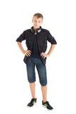 Portrait d'un adolescent mignon avec des écouteurs Images stock