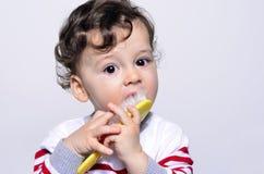 Portrait d'un bébé mignon de cheveux bouclés essayant de se peigner les cheveux Photos libres de droits