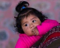 Portrait d'un bébé péruvien indigène curieux Photos stock