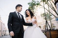Portrait d'un beau voyageur romantique de couples marchant dans Photographie stock libre de droits