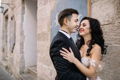 Portrait d'un beau voyageur romantique de couples marchant dans Images stock
