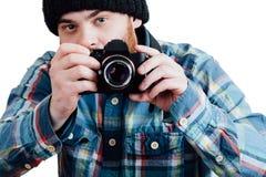 Portrait d'un brutal masculin rouge-barbu et presque chauve B d'isolement par blanc Photos libres de droits