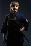 Portrait d'un combattant de kendo Image stock