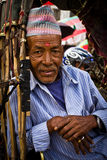 Portrait d'un conducteur de pousse-pousse de Katmandou, Népal Image libre de droits