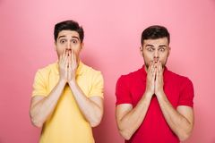 Portrait d'un couple gai choqué se tenant ensemble Photo stock