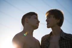 Portrait d'un couple gai heureux Image stock