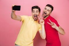Portrait d'un couple gai gai prenant un selfie Image stock
