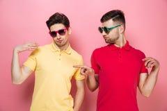 Portrait d'un couple masculin gai élégant dans des lunettes de soleil Image libre de droits