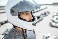 Portrait d'un coureur sur la voie photographie stock