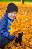 Portrait d'un enfant avec des feuilles d'automne à disposition Photo stock
